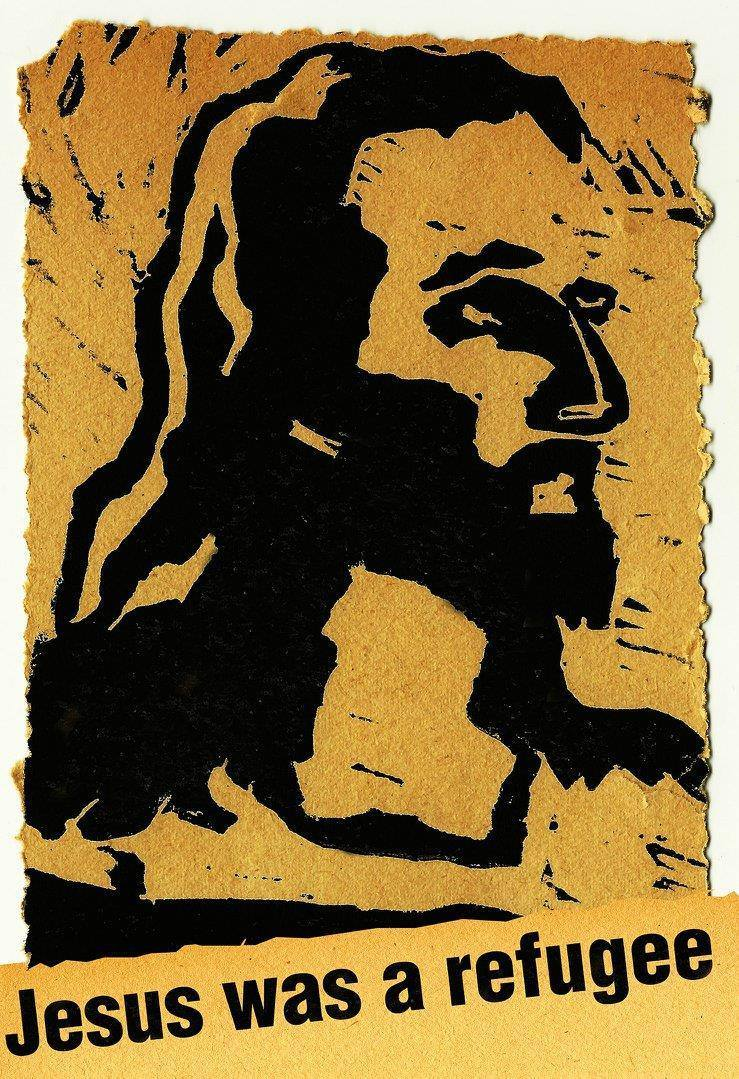 "Image of Jesus, with a tagline, ""Jesus was a refugee."""