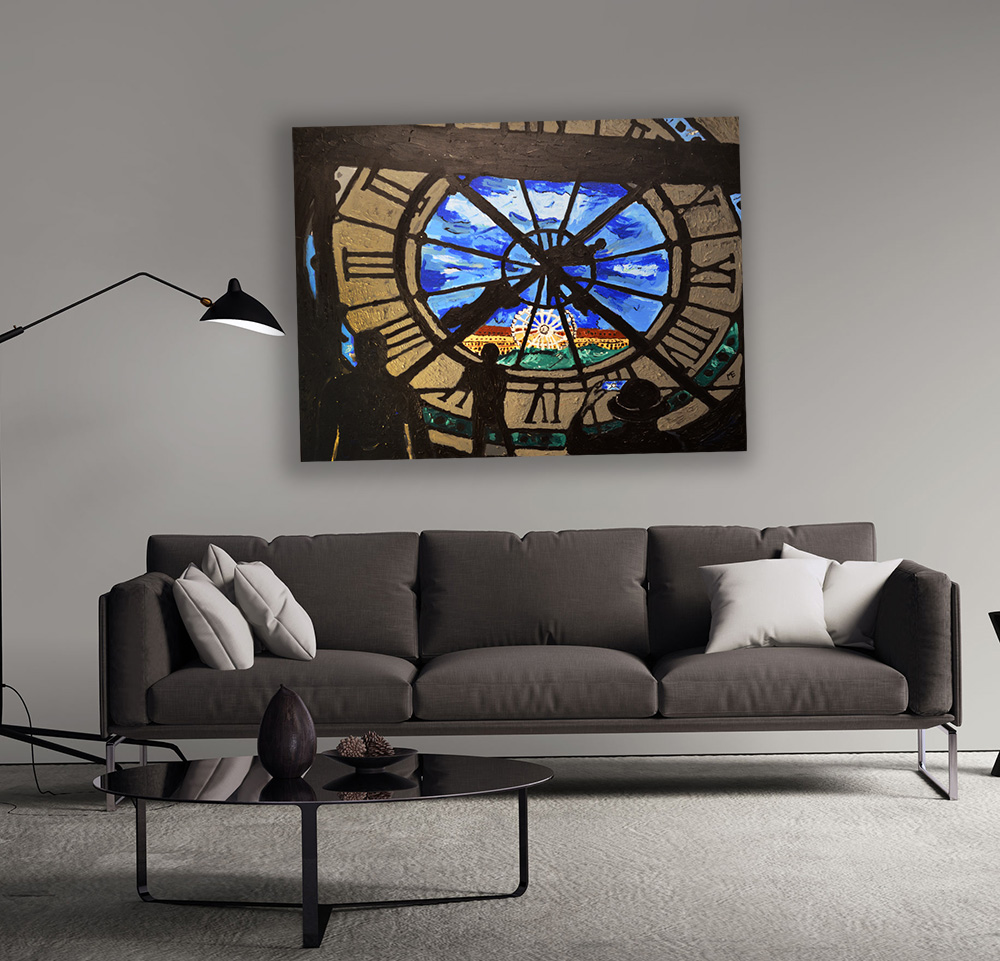 Paris Clock Painting
